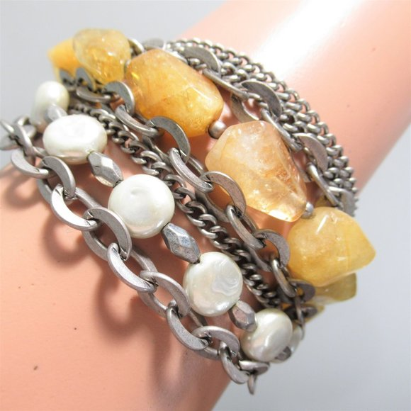 New Mix Media Boho Bracelet Stones, Chain, Pearl